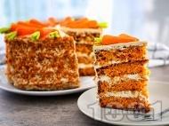 Рецепта Торта с блатове с моркови и крем от яйца, сирене маскарпоне и орехи